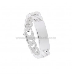 BRACCIALE GRUMETTA 4 SATI WITH 14x5 MM PLATE IN SILVER TITLE 925 ‰ WITH FRENCH CLOSING CM 22