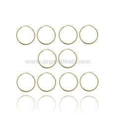EARRINGS CIRCLE ROD MM 1.2 DIAMETER MM 15 PAIRS 5 SILVER GOLD TIT 925 ‰