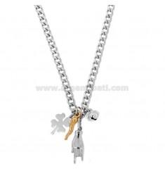 RIBBED Halskette mit Schultern und Anhänger in Silber Rhodium und Kupfer TIT 925 ‰ CM 40