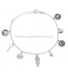 BRACELET WITH BANBOLINA AND BELL PENDANTS IN SILVER RHODIUM TIT 925 ‰ CM 17-20