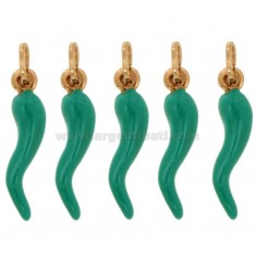 HORN PENDANT PZ 2 CM 2.6 PCS 5 IN COPPER SILVER AND GLAZED GREEN TIFFANY TIT 925 ‰