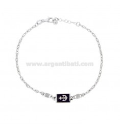 BRACELET KNITTING BASTIMENTO WITH ANCHOR IN SILVER RHODIUM TIT 925 AND ENAMELED COLORS CM 18-20