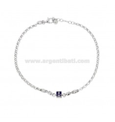 BRACELET ROLO 'JERSEY WITH ANCHOR IN SILVER RHODIUM TIT 925 AND ENAMELED ASSORTED COLORS CM 18-20