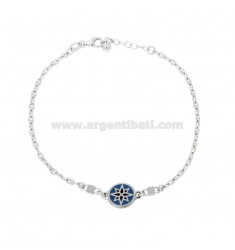 BRACELET SWEATER JACKET WITH ROSE OF THE WINDS IN SILVER RHODIUM TIT 925 AND ENAMELED COLORS CM 18-20