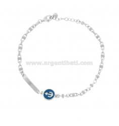 BRACELET SPECIAL SWEATER WITH LICENSE PLATE AND STILL IN SILVER RHODIUM TIT 925 AND ENAMEL COLOR ASSORTED CM 18-20