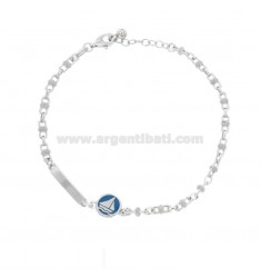 BRACELET SPECIAL SWEATER WITH LICENSE PLATE AND BOAT IN SILVER RHODIUM TIT 925 AND ENAMELED COLOR GLASSES CM 18-20
