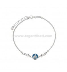 RIGID RIBBED BRACELET WITH BOAT AND KNOTS MARINARIES IN SILVER RHODIUM TIT 925 AND ENAMELED ASSORTED COLORS