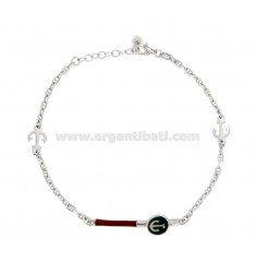 BRACELET SWEATER BASE WITH PLATE AND STILL IN SILVER RHODIUM TIT 925 AND ENAMELED COLORS CM 18-20