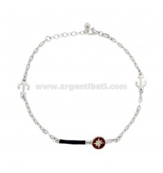 BRACELET SWEATER JACKET WITH PLATE AND ROSE OF THE WINDS IN SILVER RHODIUM TIT 925 AND ENAMELED COLORS CM 18-20