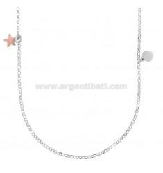 ROLO Halskette mit Sternen und Herzen Anhänger in Silber Rhodium TIT 925 ‰ und Smalto PINK 90 CM
