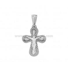 PENDANT CROSS WITH DIAMOND CHRIST 22x16 MM SILVER RHODIUM TIT 925 ‰