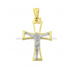 PENDANT CROSS WITH CHRIST 28X18 MM SILVER GOLD AND RHODIUM TIT 925 ‰
