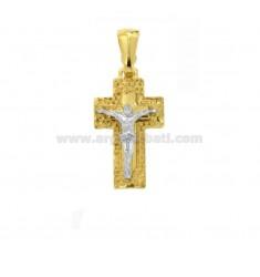 PENDANT CROSS WITH DIAMOND CHRIST 21x12 MM SILVER GOLD AND RHODIUM TIT 925 ‰