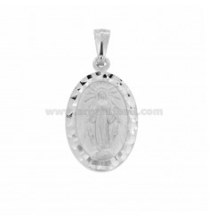 PENDANT MADONNINA MIRACULOUS OVAL MM 27X16 WITH DIAMOND BORDER IN SILVER RHODIUM TIT 925 ‰