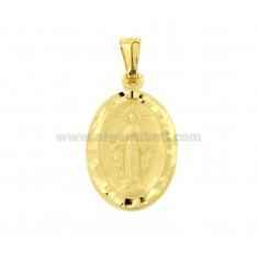 PENDANT MADONNINA MIRACULOUS OVAL MM 27X16 WITH DIAMOND BORDER IN SILVER GOLDEN TIT 925 ‰