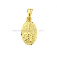 PENDANT OVAL MADONNA OF CESTOKOVA MM 21X11 SILVER GOLDEN TIT 925 ‰