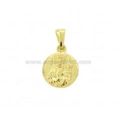 PENDANT ROUND MADONNA DI CESTOKOVA MM 17X14 SILVER GOLD TIT 925 ‰