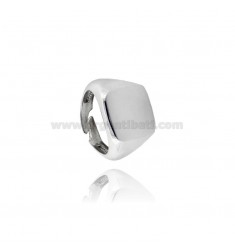 16X17 MM SQUARE RING IN SILVER RHODIUM TIT 925 ‰ ADJUSTABLE SIZE FROM 21