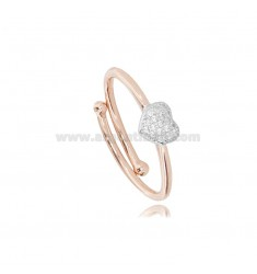 ROSE RING WITH CENTRAL ZIRCONATED HEART RHODIUM-PLATED SILVER TIT 925 ‰ ADJUSTABLE SIZE
