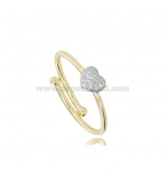 GOLDEN RING WITH CENTRAL ZIRCONATED HEART RHODIUM-PLATED SILVER TIT 925 ‰ ADJUSTABLE SIZE