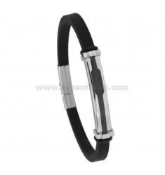 Gummi-Armband mit zweifarbiger Stahlplatte