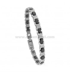 BRACCIALE IMPERNIATO IN STEEL WITH BLACK CERAMIC CM 21