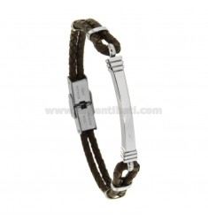 LEATHER BRACELET WITH STEEL PLATE