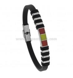 Gummi-Armband mit Stahlplatte und Emaille