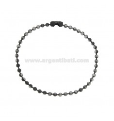 BRACELET 3 MM BALL IN STEEL BRUNITO CM 21