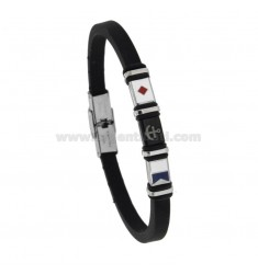 RUBBER BRACELET WITH STEEL PLATE AND ENAMEL