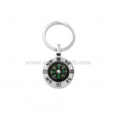 KEYRING WITH STEEL COMPASS AND ENAMEL
