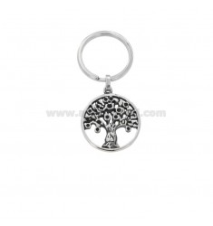 KEYRING WITH STEEL LIFE TREE