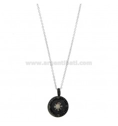 CHAIN \u200b\u200bCABLE 50 CM WITH BUSY PENDANT 15 MM IN STEEL TWO-TONE