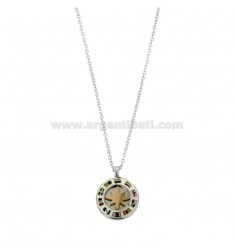 CHAIN \u200b\u200bCABLE 50 CM WITH WIND ROSE PENDANT 18 MM IN STEEL TWO-TONE AND ENAMEL