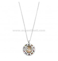 CHAIN \u200b\u200bCABLE 50 CM WITH STILL PENDANT 18 MM IN STEEL TWO-TONE AND ENAMEL