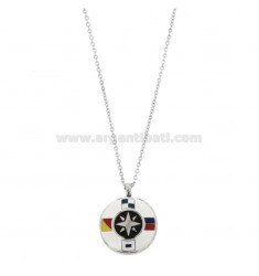 CHAIN \u200b\u200bCABLE 50 CM WITH WIND ROSE PENDANT 20 MM STEEL AND ENAMEL