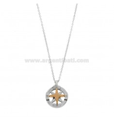 CHAIN \u200b\u200bCABLE 50 CM WITH WIND ROSE PENDANT 19 MM IN STEEL TWO-TONE