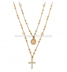 TWO WIRE COLLIER TYPE CORONA SILVER ROSE TIT 925 ‰ WITH CROSS, MADONNA AND SMALL ZIRCONIA TRIMS