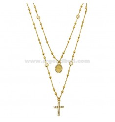 TWO WIRE COLLIER TYPE CROWN IN SILVER GOLDEN TIT 925 ‰ WITH CROSS, MADONNA AND TWO-TONE IN WHITE ZIRCONIA