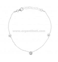 Armband mit Kugelkette und Zirkonia aus Silber Rhodium TIT 925 ON CM 18-20