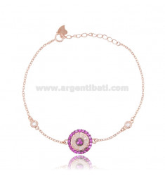 CABLE BRACELET WITH ROUND ROSE SILVER TIT 925 ‰ AND WHITE AND RED ZIRCONIA CM 17-20