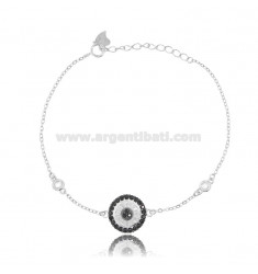 CABLE BRACELET WITH ROUND RHODIUM-PLATED SILVER TIT 925 ‰ AND WHITE AND BLACK ZIRCONIA CM 17-20