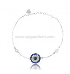 CABLE BRACELET WITH ROUND SILVER RHODIUM-PLATED TIT 925 ‰ AND WHITE AND BLUE ZIRCONIA CM 17-20
