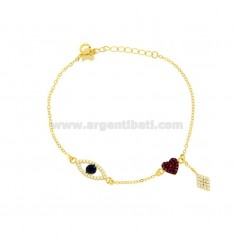 CUP BRACELET WITH EYE, ROMBO AND HEART IN SILVER GOLDEN TIT 925 ‰ AND COLORED ZIRCONIA CM 17-20