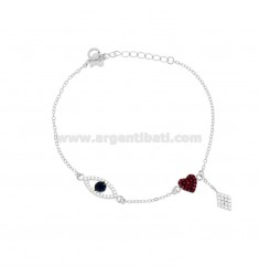 CUP BRACELET WITH EYE, ROMBO AND HEART IN SILVER RHODIUM TIT 925 ‰ AND COLORED ZIRCONIA CM 17-20