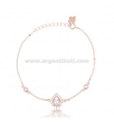 CABLE BRACELET WITH DROP IN ROSE SILVER TIT 925 ‰ AND WHITE ZIRCONS 17-20 CM