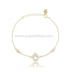 CABLE BRACELET WITH DROP IN SILVER GOLDEN TIT 925 ‰ AND WHITE ZIRCONS 17-20 CM