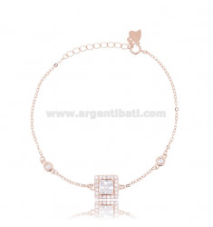 CABLE BRACELET WITH SQUARE IN ROSE SILVER TIT 925 ‰ AND WHITE ZIRCONS 17-20 CM