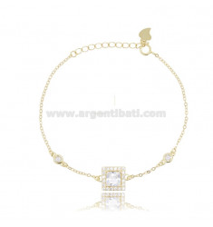 CABLE BRACELET WITH SQUARE IN SILVER GOLDEN TIT 925 ‰ AND WHITE ZIRCONIA CM 17-20