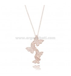 CHAIN CABLE WITH BUTTERFLIES DEGRADE PENDING SILVER ROSE TIT 925 ‰ AND WHITE ZIRCONIA CM 42-45